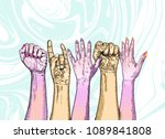 fists hands up concept of unity ... | Shutterstock .eps vector #1089841808