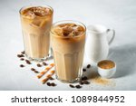 ice coffee in a tall glass with ... | Shutterstock . vector #1089844952