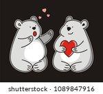 bear with heart vector sketch... | Shutterstock .eps vector #1089847916