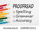 proofread written on a white... | Shutterstock . vector #1089851012