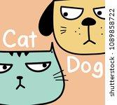 cat vs dog. vector illustration ... | Shutterstock .eps vector #1089858722