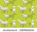 cute white goat background... | Shutterstock .eps vector #1089860636