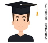 young man graduating with... | Shutterstock .eps vector #1089863798