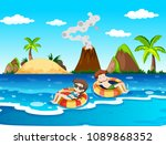 a couple on honeymoon holiday... | Shutterstock .eps vector #1089868352