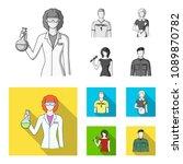 woman chemist  football player  ... | Shutterstock .eps vector #1089870782