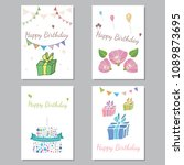 set of greeting cards with a... | Shutterstock .eps vector #1089873695