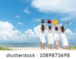 smiling group woman wearing... | Shutterstock . vector #1089873698