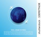 airplane flight  travelling...   Shutterstock .eps vector #1089879638
