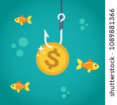 coin dollar on fishing hook and ...   Shutterstock .eps vector #1089881366