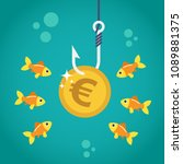 coin euro on fishing hook and... | Shutterstock .eps vector #1089881375