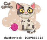 Stock vector cute cartoon cat characters vector illustration cartoon styled 1089888818