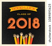 2018 graduation card or banner...   Shutterstock .eps vector #1089895625