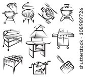 monochrome set of barbecue and...