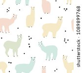 seamless pattern with lama.... | Shutterstock .eps vector #1089899768