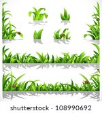 green lush grass with dew and... | Shutterstock .eps vector #108990692