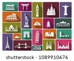 world landmark icon set. flat... | Shutterstock .eps vector #1089910676