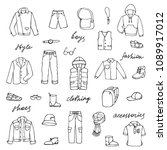 hand drawn doodle set with... | Shutterstock .eps vector #1089917012