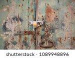 wooden peeled door background...   Shutterstock . vector #1089948896