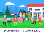 house backyard party .young... | Shutterstock .eps vector #1089951212