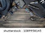 men's accessories top view on... | Shutterstock . vector #1089958145