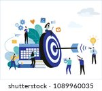 target with arrow vector... | Shutterstock .eps vector #1089960035