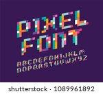 pixel font 16 bit font italic | Shutterstock .eps vector #1089961892