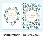 set of card with flower rose ... | Shutterstock .eps vector #1089967568