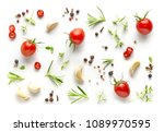 Tomatoes And Various Herbs And...