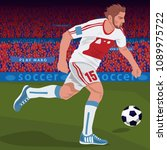 soccer gameplay. close up of... | Shutterstock .eps vector #1089975722