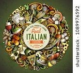 cartoon vector doodles italian... | Shutterstock .eps vector #1089976592