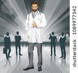 vector doctor man with... | Shutterstock .eps vector #1089977342