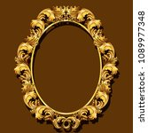 frame gold color with shadow on ... | Shutterstock .eps vector #1089977348