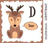 funny cartoon animals. d letter.... | Shutterstock .eps vector #1089978665