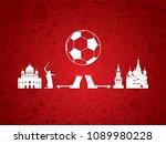 soccer   football background.... | Shutterstock .eps vector #1089980228