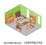 furniture makers at work and... | Shutterstock .eps vector #1089982196