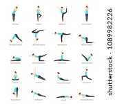 cartoon woman yoga poses icons...   Shutterstock .eps vector #1089982226