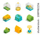 pet carriers signs 3d icons set ...   Shutterstock .eps vector #1089982256