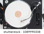 turntable vinyl record player... | Shutterstock . vector #1089990338