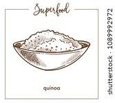 quinoa cereal in deep bowl... | Shutterstock .eps vector #1089992972