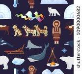 arctic vector northern borealis ... | Shutterstock .eps vector #1090000682