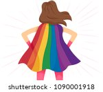 illustration of a girl super... | Shutterstock .eps vector #1090001918