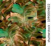 green yellow exotic pattern....   Shutterstock . vector #1090004822