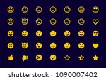 emoji set smile sad cry tongue... | Shutterstock .eps vector #1090007402