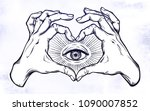 two hands making heart sign... | Shutterstock .eps vector #1090007852