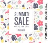 summer sale card  tropical... | Shutterstock .eps vector #1090011362