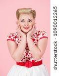 elegant girl portrait with... | Shutterstock . vector #1090012265