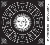 zodiac circle with horoscope... | Shutterstock .eps vector #1090020542