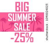 pink palms  a big summer sale... | Shutterstock . vector #1090024025