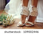 Female Feet In White Wedding...