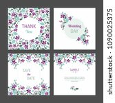 set of cards with floral design ... | Shutterstock .eps vector #1090025375